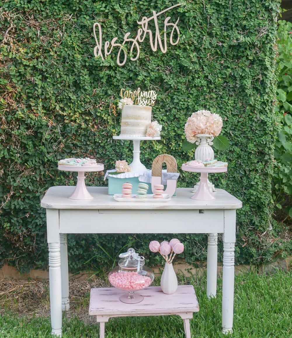 Shabby Chic Dessert Table Set Up - the Outdoor Version. Come see how to take your party from outdoors to indoors with just a few changes. It's all about styling a dessert party two ways - by Event Planner Mint Event Design in Austin Texas www.minteventdesign.com #dessertparty #partytips #partyplanning #partyideas #diyparty #desserttable