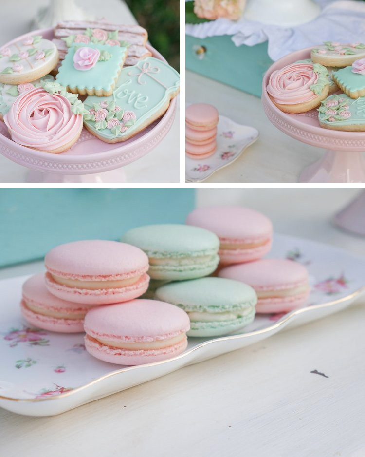 Desserts in your party colors are a must-have. These pretty pastel sugar cookies and macarons are perfect for an outdoor garden party. See many more garden party ideas on Mint Event Design www.minteventdesign.com #dessertparty #partytips #partyplanning #partyideas #macarons #sugarcookies