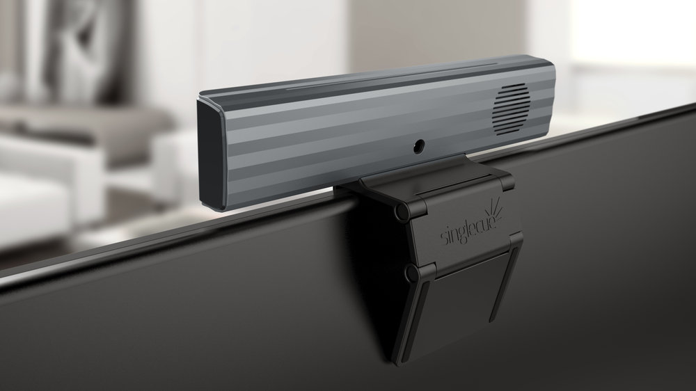 Versatile - Its flexible hinge design allows Singleque to grasp the top of a TV or rest comfortably on a tabletop.