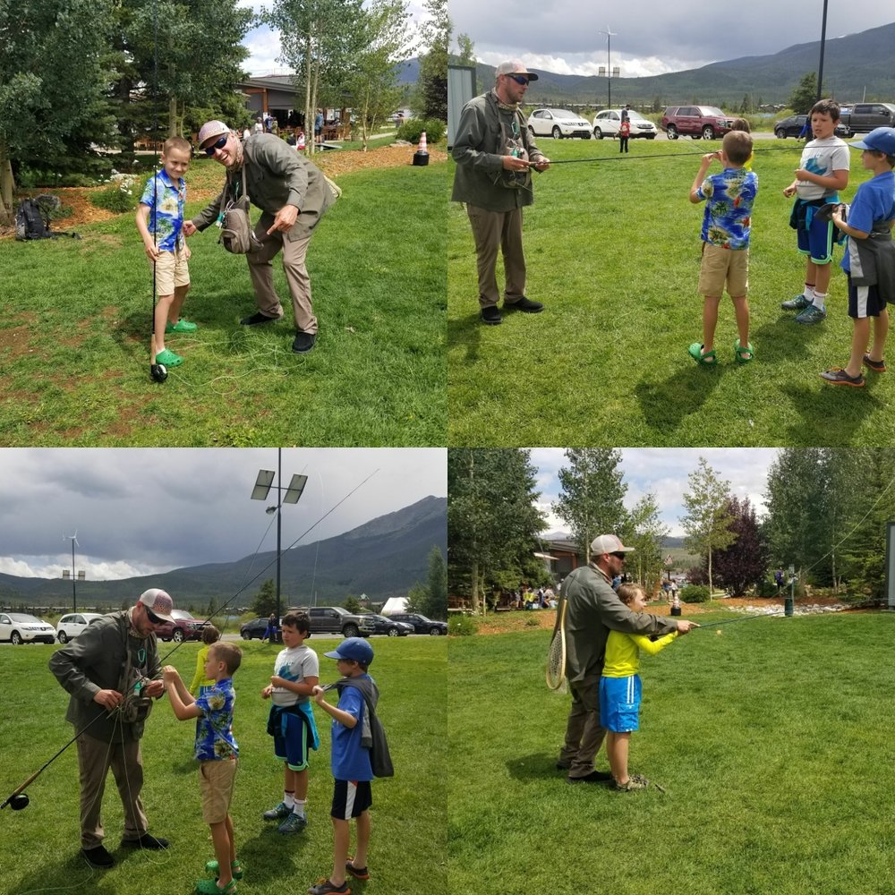 George helping the kids learn the art of fly fishing at the Town of Frisco's 2016 Summer Water Camp. Over 100 kids this year taught!!!