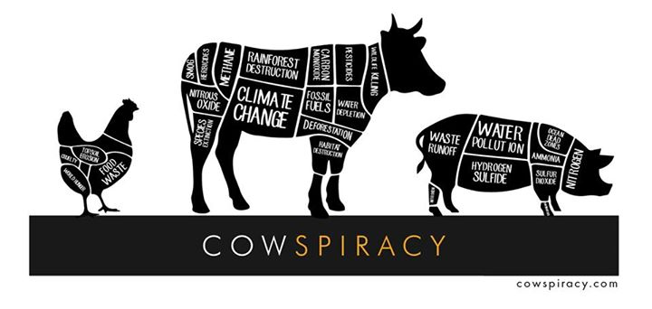 """An ad poster for the completely false, """"documentary"""" Cowspiracy. Where they attempt to blame all environmental issues on animal agriculture. Released 2014"""