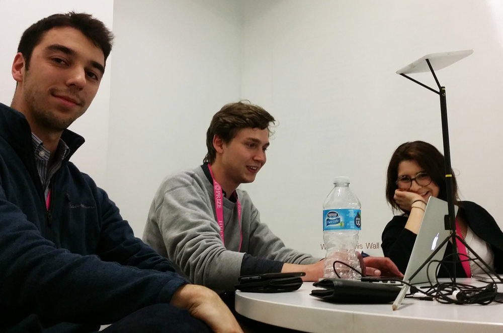 Tim, Lenny and Sophie preparing their presentation at the regional finals in SF.