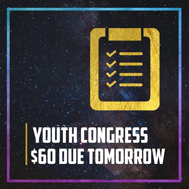 Crowd students:  1. $60 deposit due tomorrow to secure your spot for Youth Congress  2. No Crowd Class Tomorrow