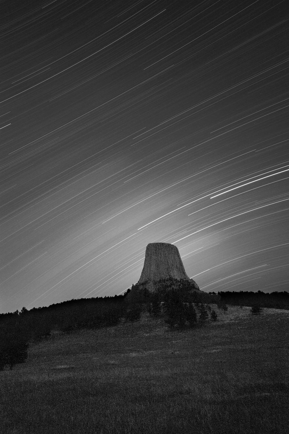 Star Trails above Mato Tipila (black and white)
