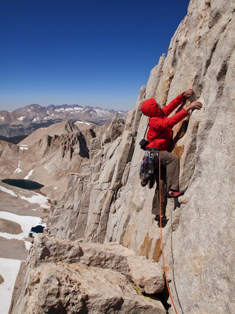 Climber on Fishhook Arete