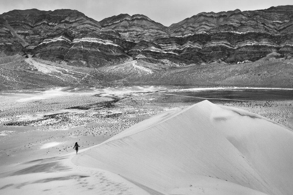 Hiker on Euraka Dunes
