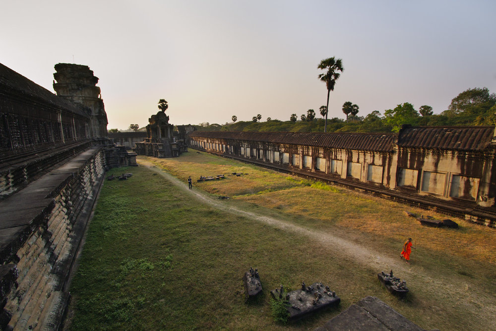 Monk Walking in Angkor Wat