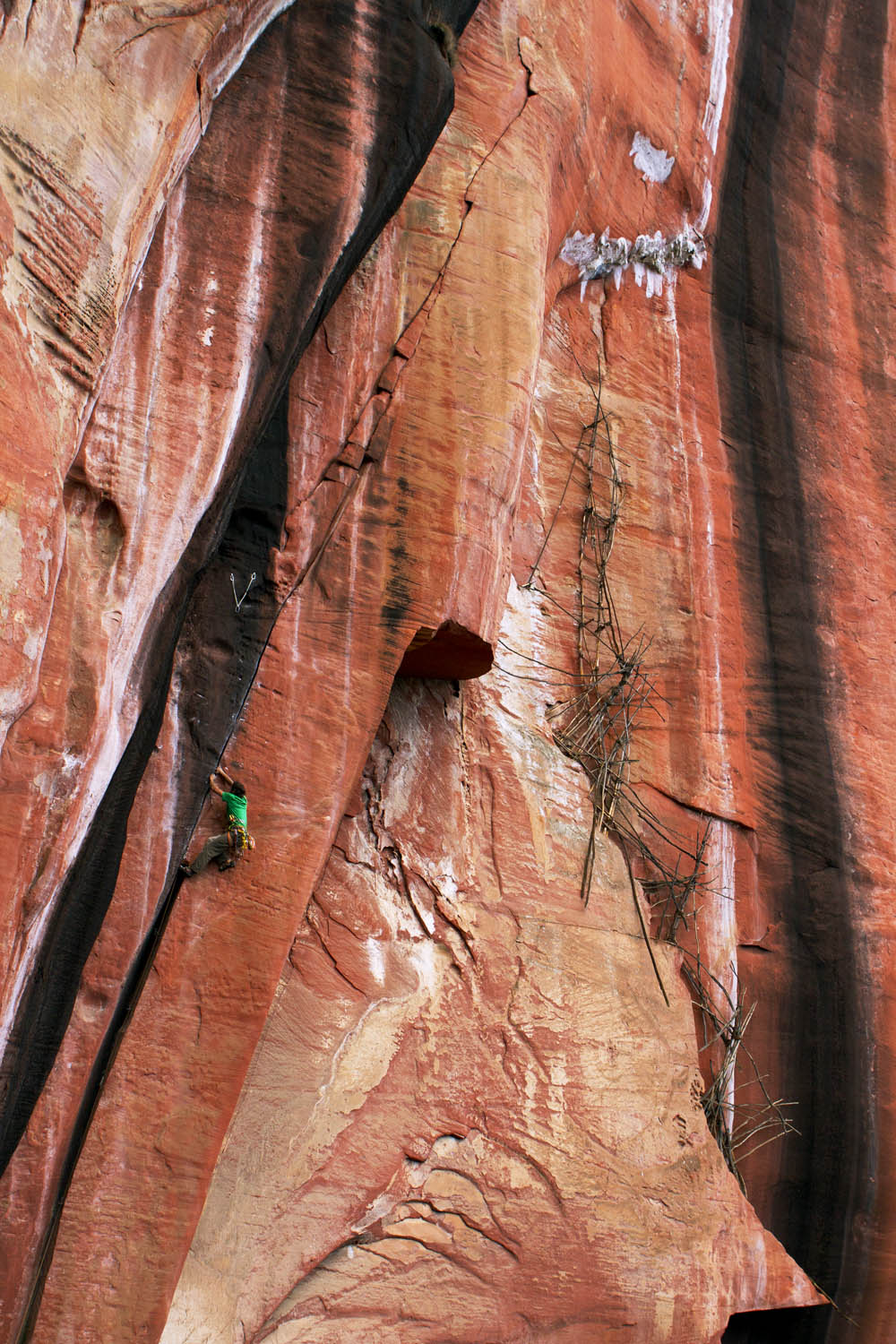 Climber on Ding Dong's Crack