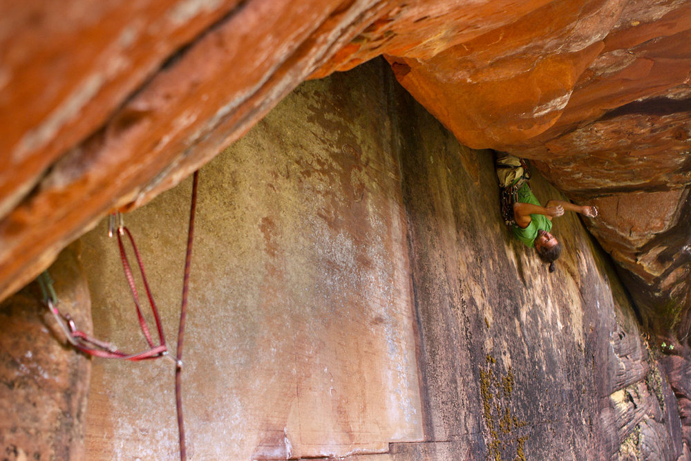 Climber on the First Ascent of Over the Rainbow