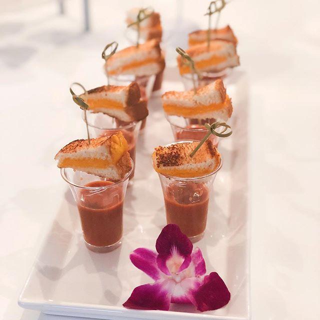 Mini Grilled Cheese Sandwiches w/ Tomato Soup Shots