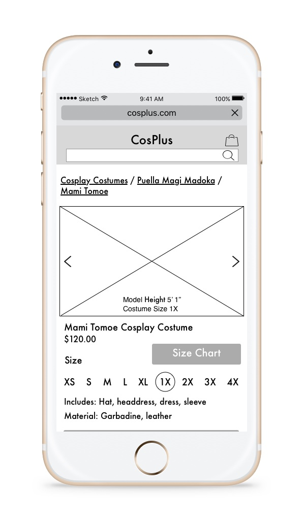 Select A Size - When Jessica selects the size she wants, the carousel will automatically flip to the image of the model wearing the size.