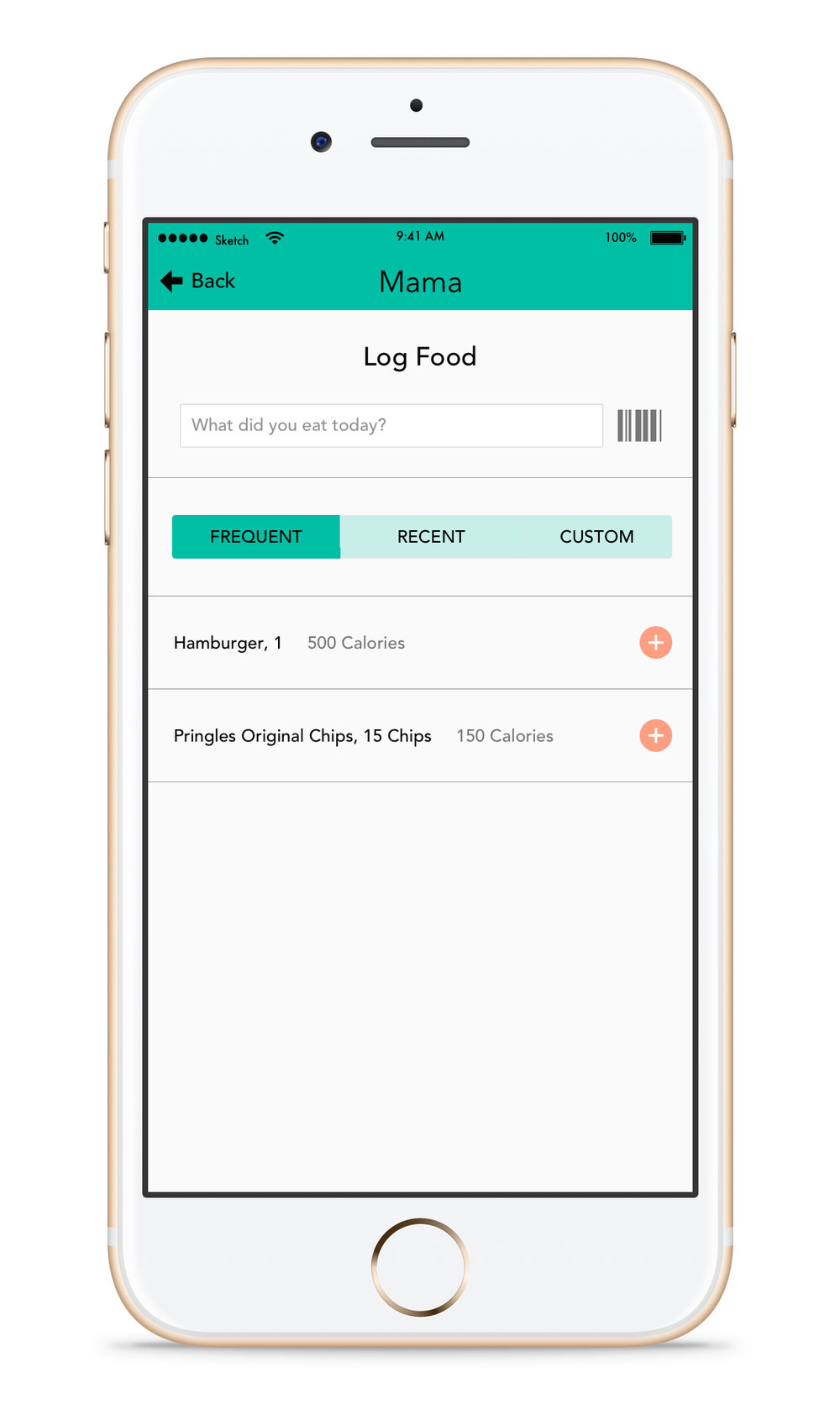 Adding Food - When logging in food the mother can either type it in, scan the food package, via barcode, or quickly grab from frequent foods. Frequent shows as default since there are usually a few