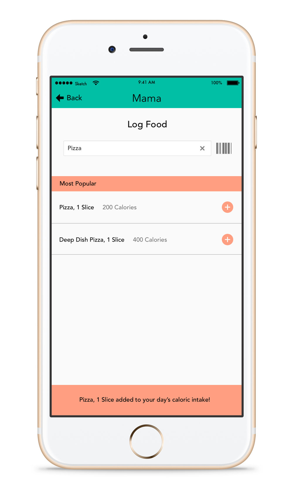 Status Indication - When a food is selected there is an indication that it has been logged. It is placed in the bottom position so it does not get in the way if the mother wants to log additional food items.