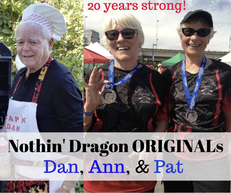 Our original team members who still paddle with us, and who formed Dogwood Nothin' Dragon 20 years ago! Dan, Ann, and Pat!