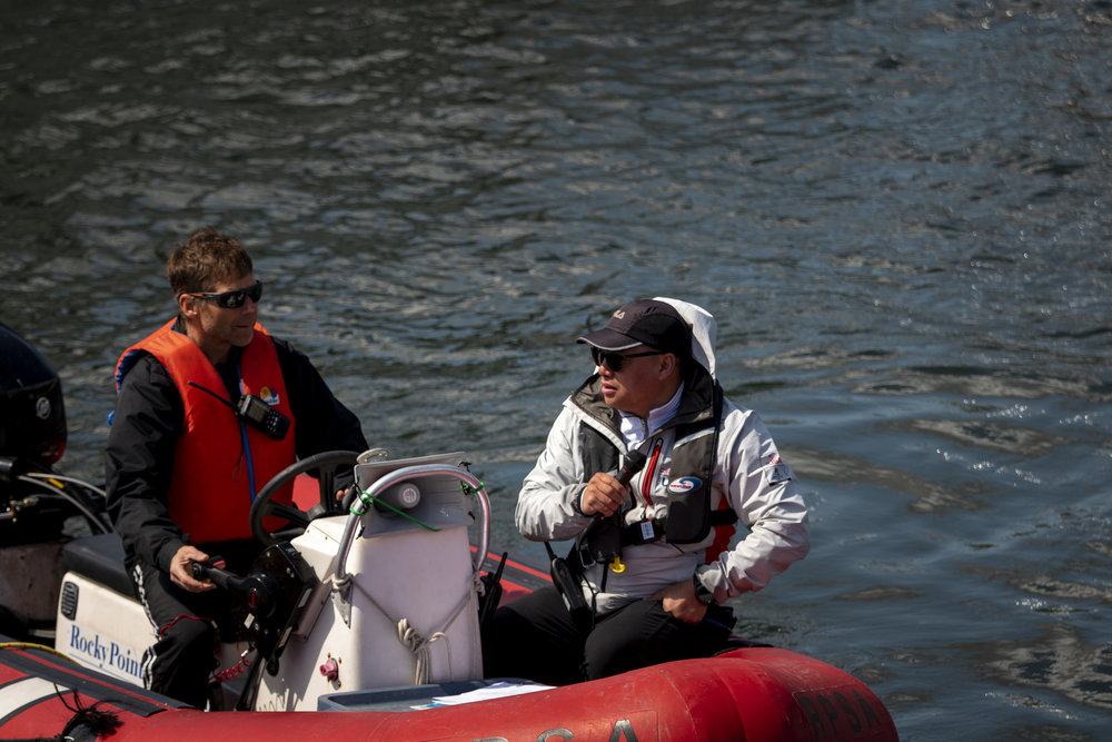 Greg Lamb of G2G Management (right) on the water at the Inlet Spring Regatta 2018 (Photo: Joep Olthuis)
