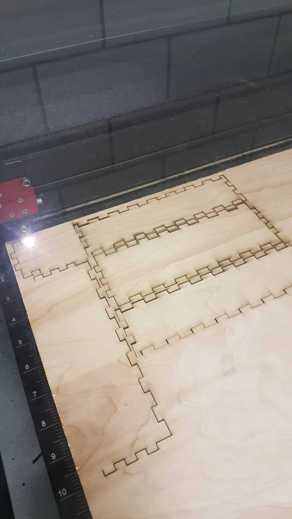 Laser cutting on plywood for high-fidelity prototype