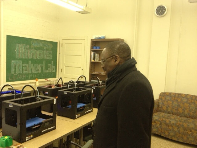 University of Illinois Provost Ilesanmi Adesida, visits the MakerLab