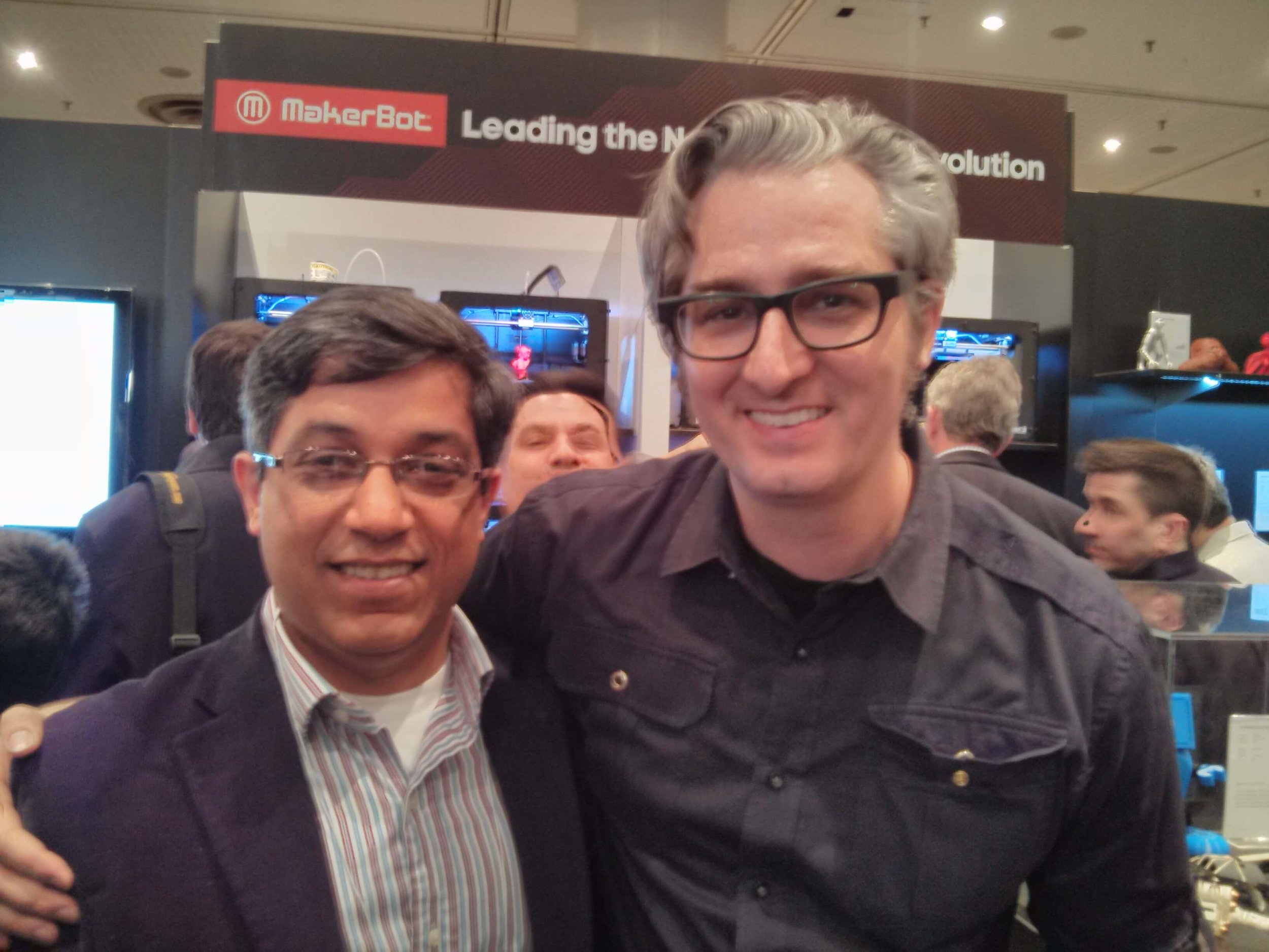 MakerLab Director Vishal Sachdev rubbing shoulders with MakerBot CEO, Bre Pettis.