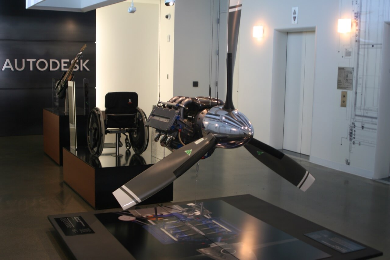Airplane engine on display at Autodesk's 1 Marketplace location