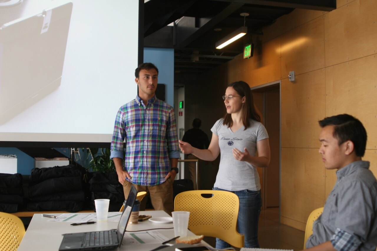 Scott presented his group's food transportation device to the other students and Autodesk staff at the bootcamp
