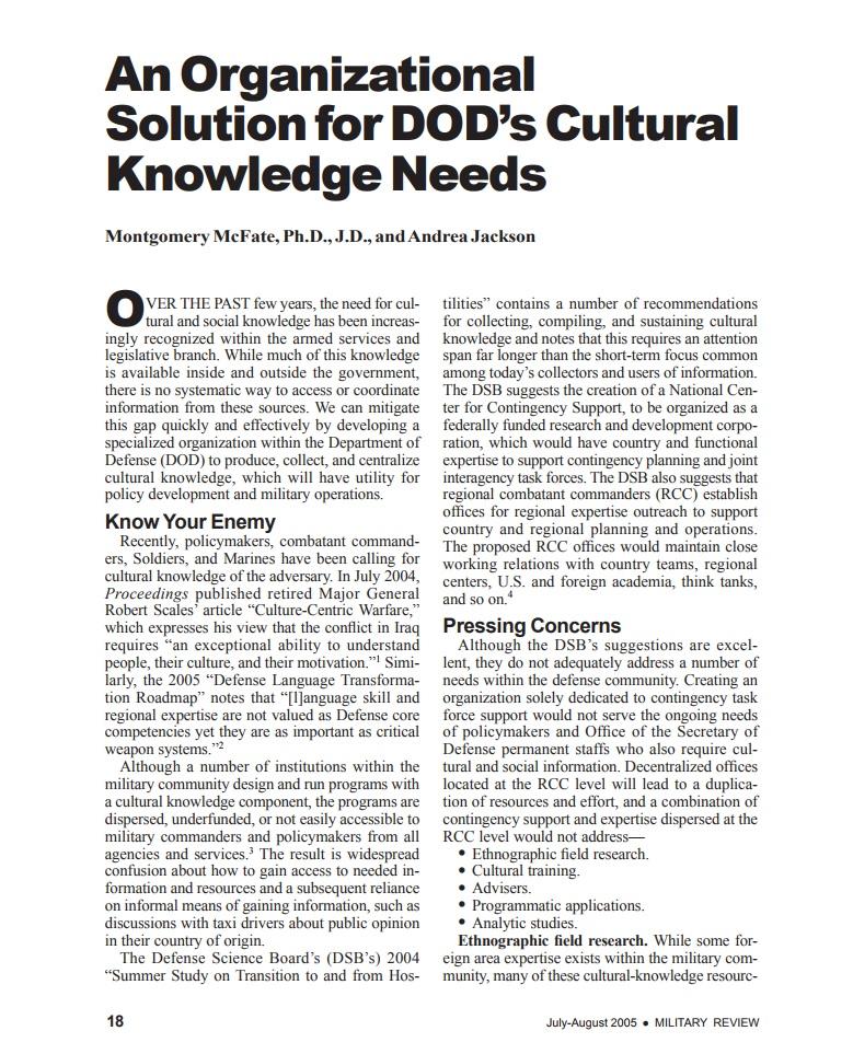 An Organizational Solution