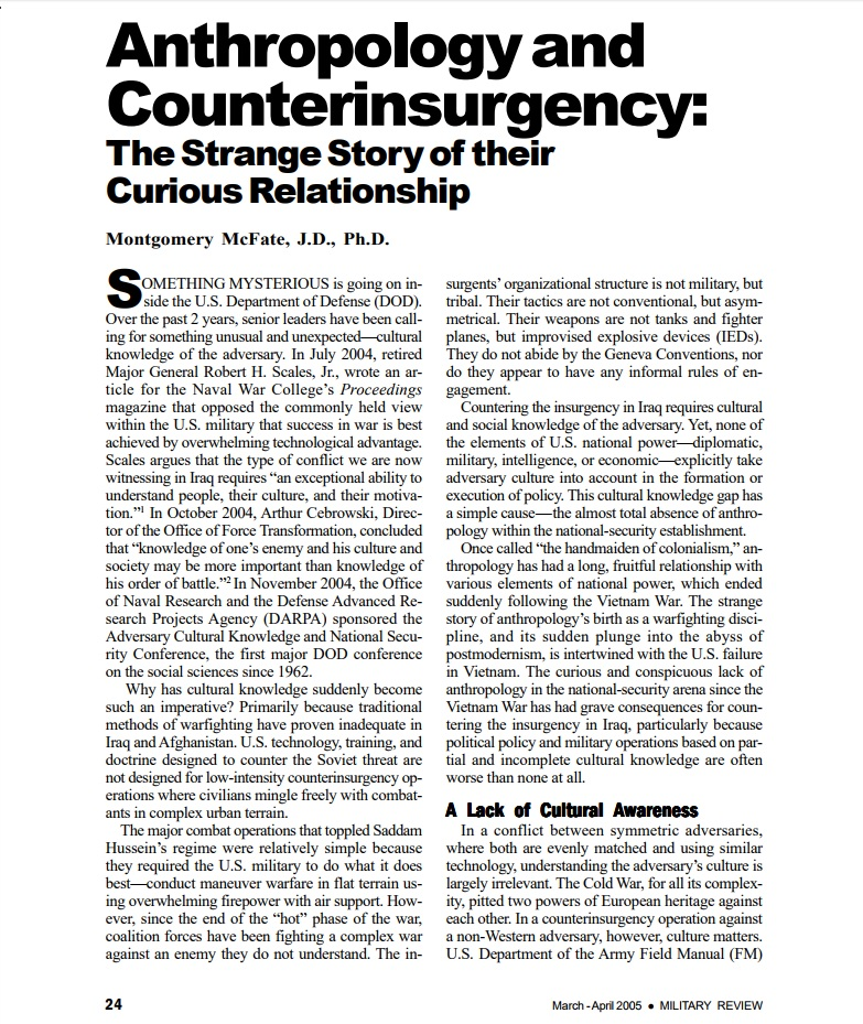 Anthropology and Counterinsurgency