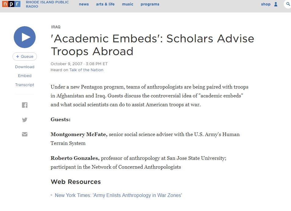 NPR Academic Embeds