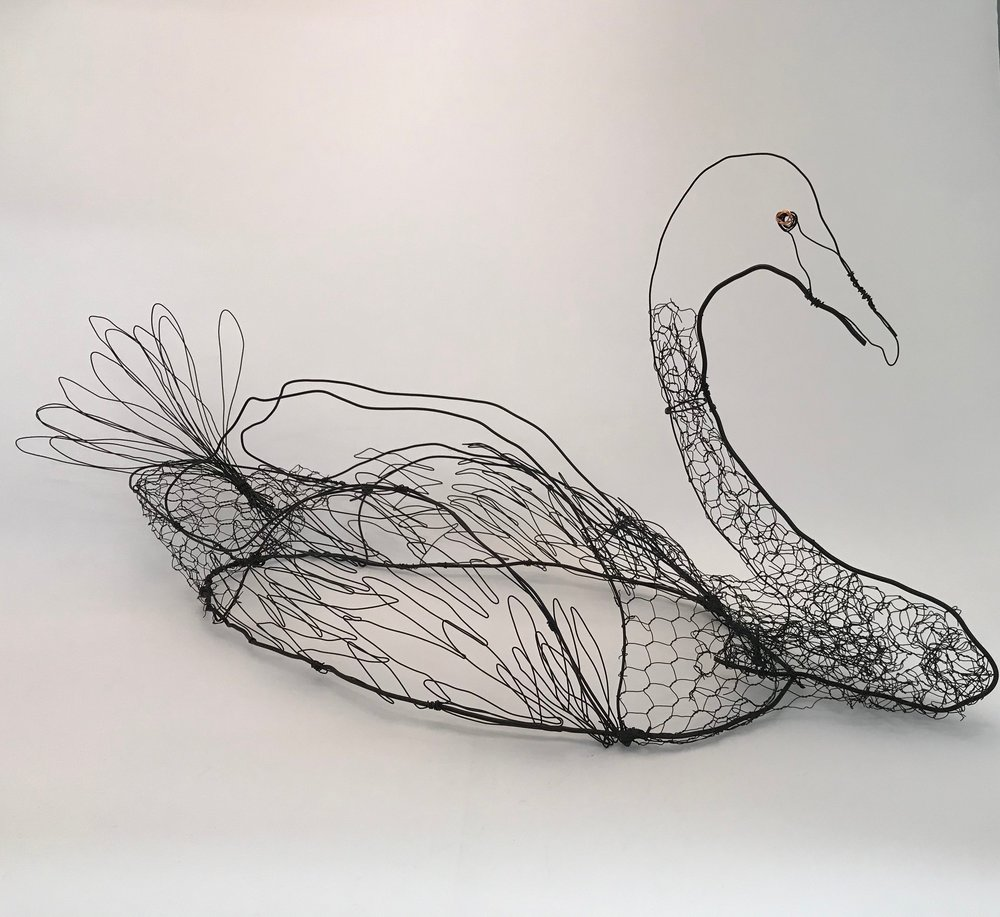Black Swan  Galvanised wire, copper and paint