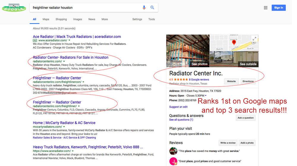SEO (Radiator Center) — A Plus Marketing Agency