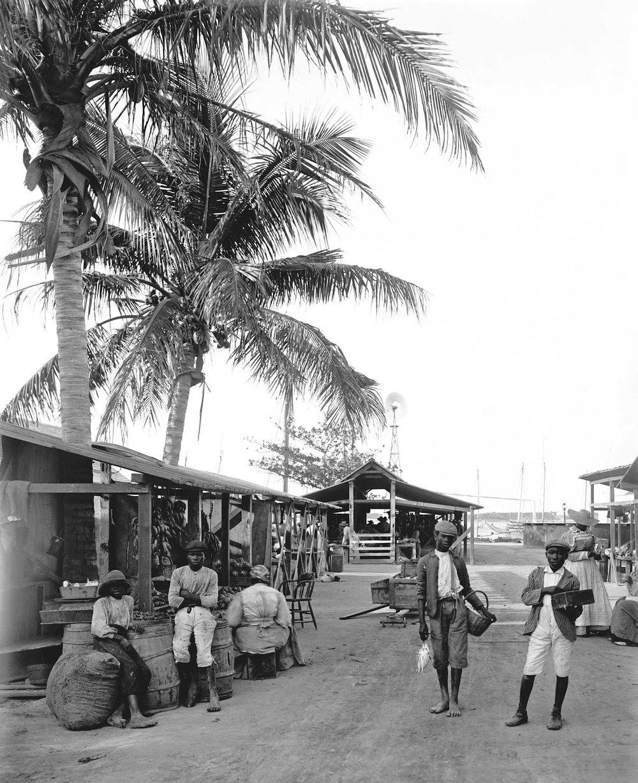 """""""Market on the wharf, Nassau, Bahamas, 1900"""" - William Henry Jackson"""