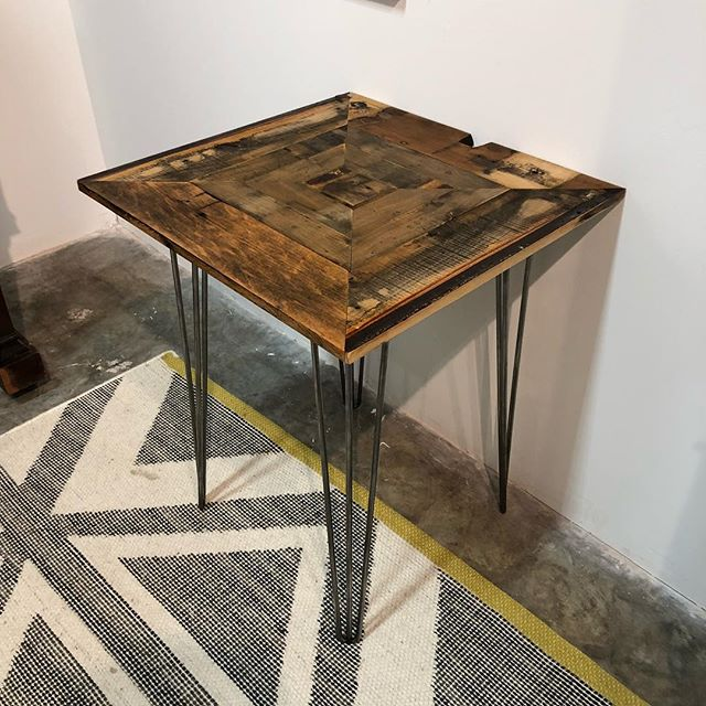 "This lovely side table stands at 28"" tall and was made from the keyboard decking under the keys of a late 19th century upright piano. Carefully selected, hand-sanded, oiled and ready for your home! Email us at: info@tinmule.com or pick it up in person at Booth 310 @westsidemarketatlanta in Toco Hills. #westsidemarkettocohills #artforsale #atlantaartists  #upcycledpiano #upcycledpianos #buyunique"