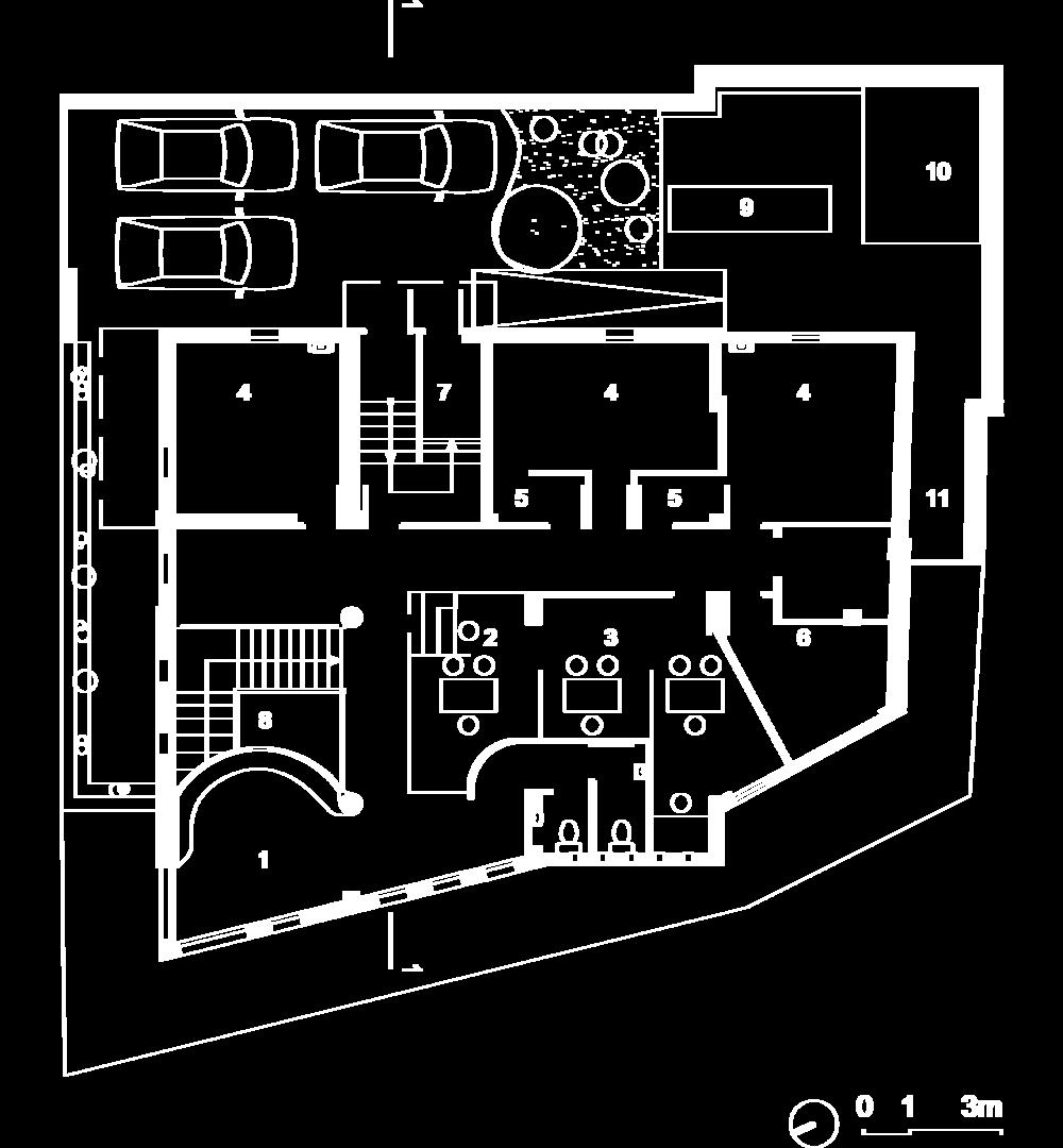 Plan du rez-de-chaussée haut :  1- Attente, 2- Accueil rez-de-jardin, 3- Secrétariat, 4- Consultation, 5- SAS, 6- Laverie,   7- Local déchets, 8- Vide sur le hall.