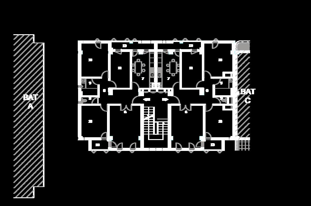 Plan étage courant bâtiment B :  3- Hall et dégagement, 4- Cuisine, 5- Salle de bain, 6- WC, 7- Chambre, 8- Salon, 9- Loggia.