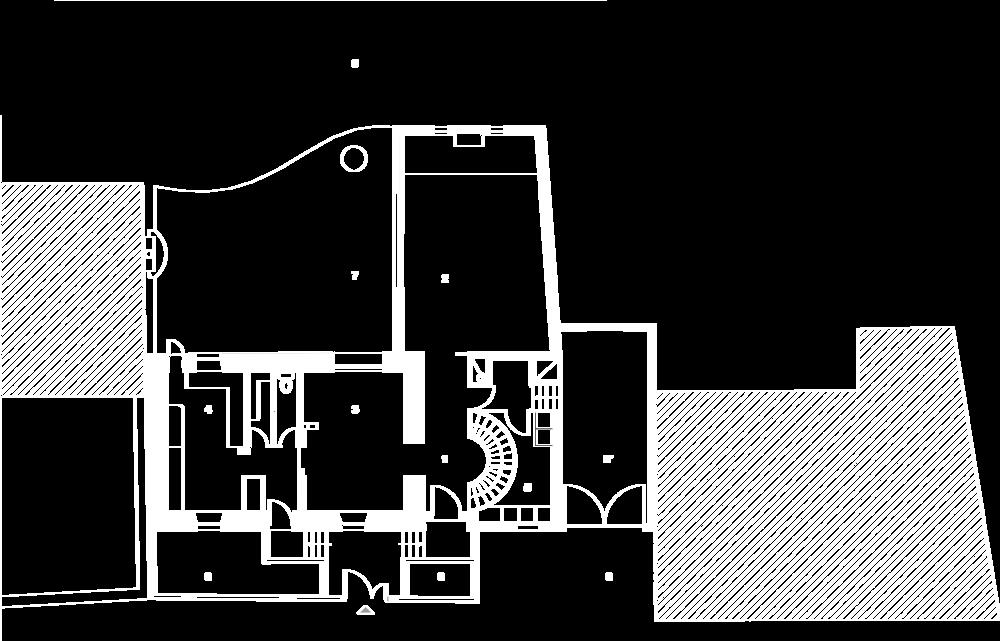 Plan du rez-de-chaussée :  1- Entrée, 2- Séjour, 3- Salle à manger, 4- Cuisine, 5- Buanderie, 6- Stationnement, 6- Garage, 7- Terrasse, 8- Jardin.