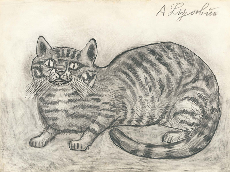 CAT DRAWING ON PAPER, 32,8x45 CM
