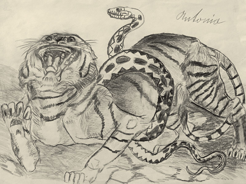 TIGER WITH A SNAKE DRAWING ON PAPER, 33,5x48 CM