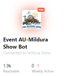 Mildura Show 2018 - Their bot reached almost 2000 before the show happened! -