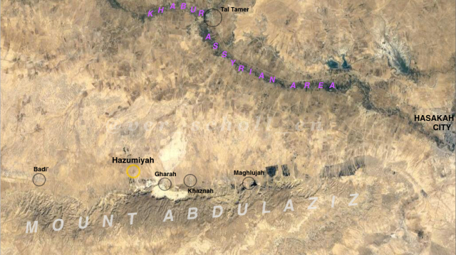 Fig. 1: Map of notable settlements on the northern slopes of Mt. Abdulaziz, with al-Hazumiyah highlighted ( expanded view ).