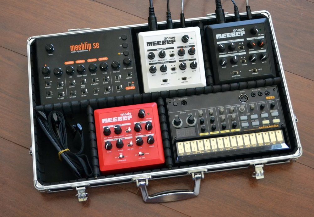 MeeBlip hackable synthesisers with customisable carry case.