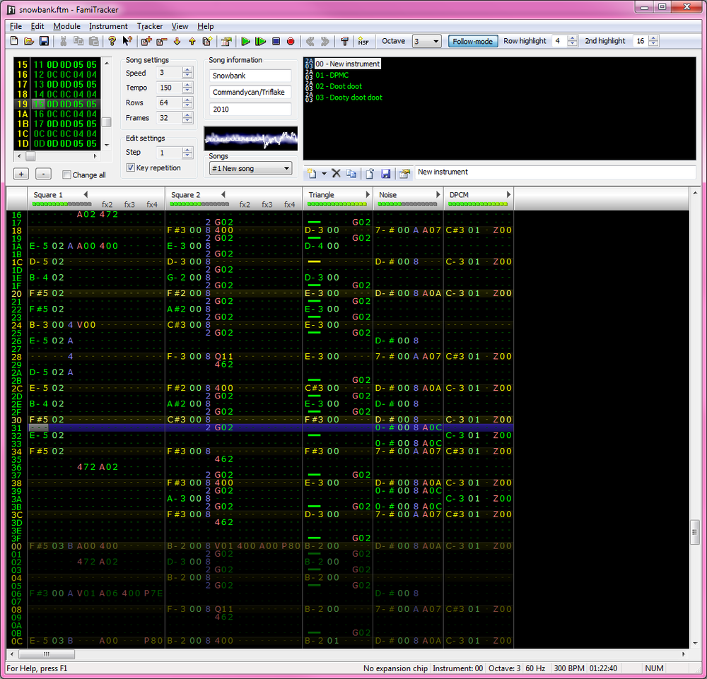 FamiTracker is a free windows tracker for producing music for the NES/Famicom-systems.