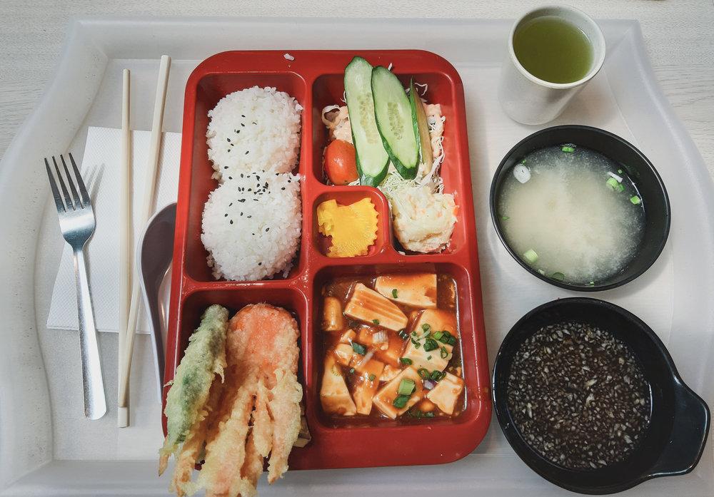 Bento box with veggie tempura & silken tofu
