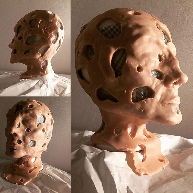 I've been being a #freaky #weirdo at my #workbench and here is the result.... now I have to pray I can get this off the #mannequin #head and #cook it without destroying it.  #bust #sculpture #process #processart #supersculpey #maquette #face #berlinart #londonartist #medicalart #anatomicalart #anatomy #psychogenic #pain #mindandbody #sculptor #art #contemporaryart #modelling #studio #tweakyweirdo #theemporiumofeverydayexcellence #trypophobia  #subconscious