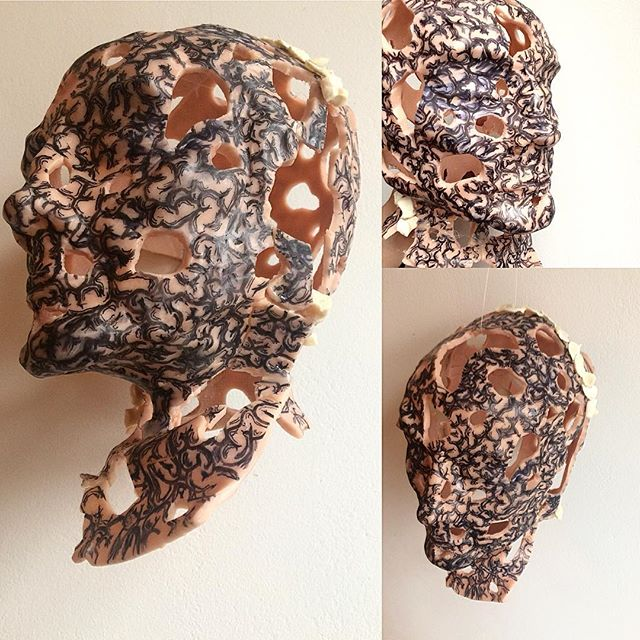 So this little #maquette has been a great friend all covered in #brains and #bones.  Next step I will try cast something similar in #rubber #resin or #plaster or allll of em to make a final piece.  Before I fill him with #expandingfoam (something that fills most #sculptor s with #joy) I thought of #document him! #brain #medicalart #supersculpey #bust #anatomicalart #theemporiumofeverydayexcellence #artist #sculpture #art #processart #neurology #anatomy #dualism #mindbody #berlinart #lobstercult #berlinart #processart #developmentart #artiststudio #scienceart #