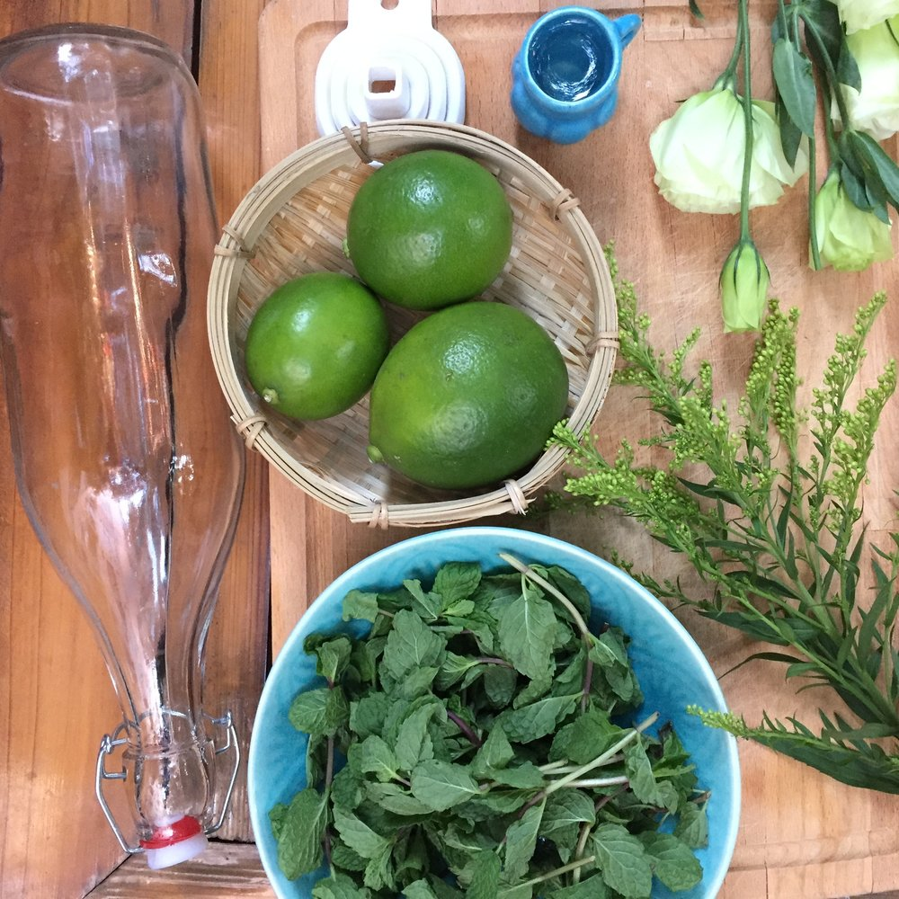 Material & INgredients - - Empty bottle (you can find nice ones at Ikea)- 1 funnel- Zest of 1 lime- 15g fresh mint sprigs- 15cl sugar cane syrup or regular cane sugar- 1 bottle of white rum (40 to 50 degrees)- Printer-Sticker paper (or regular paper & glue)