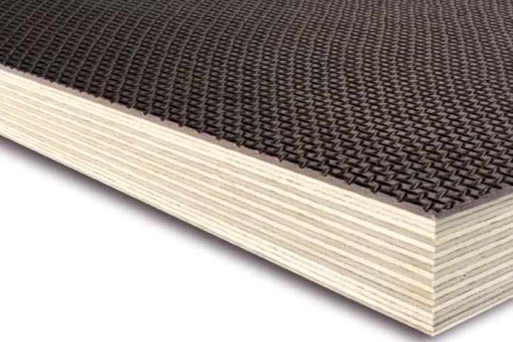 Anti slip birch filmfaced plywood. Wire-mesh pattern