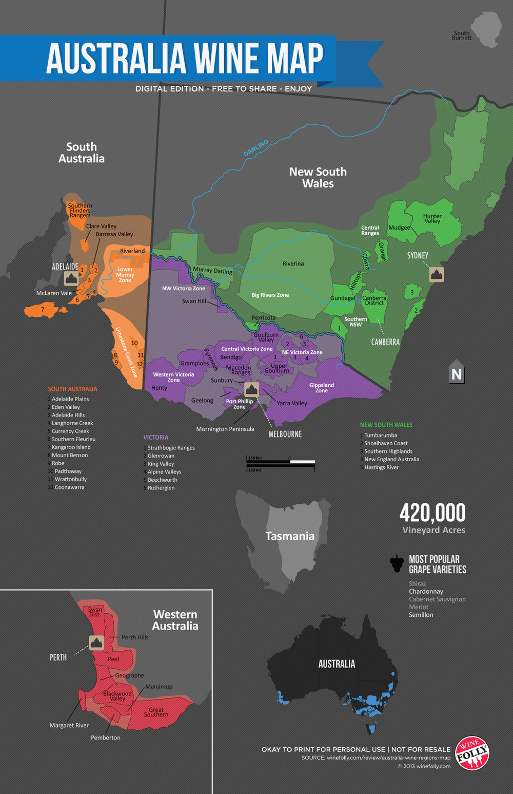 Wine Folly Map of the Wine Regions in Australia
