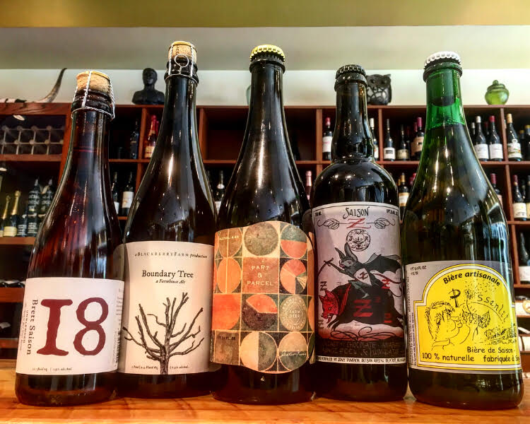 From left: Blackberry Farm 18 Month Brett Saison, Boundary Tree, Jester King Part & Parcel, Jolly Pumpkin Saison Z, Brasserie Fantôme Pissenlit