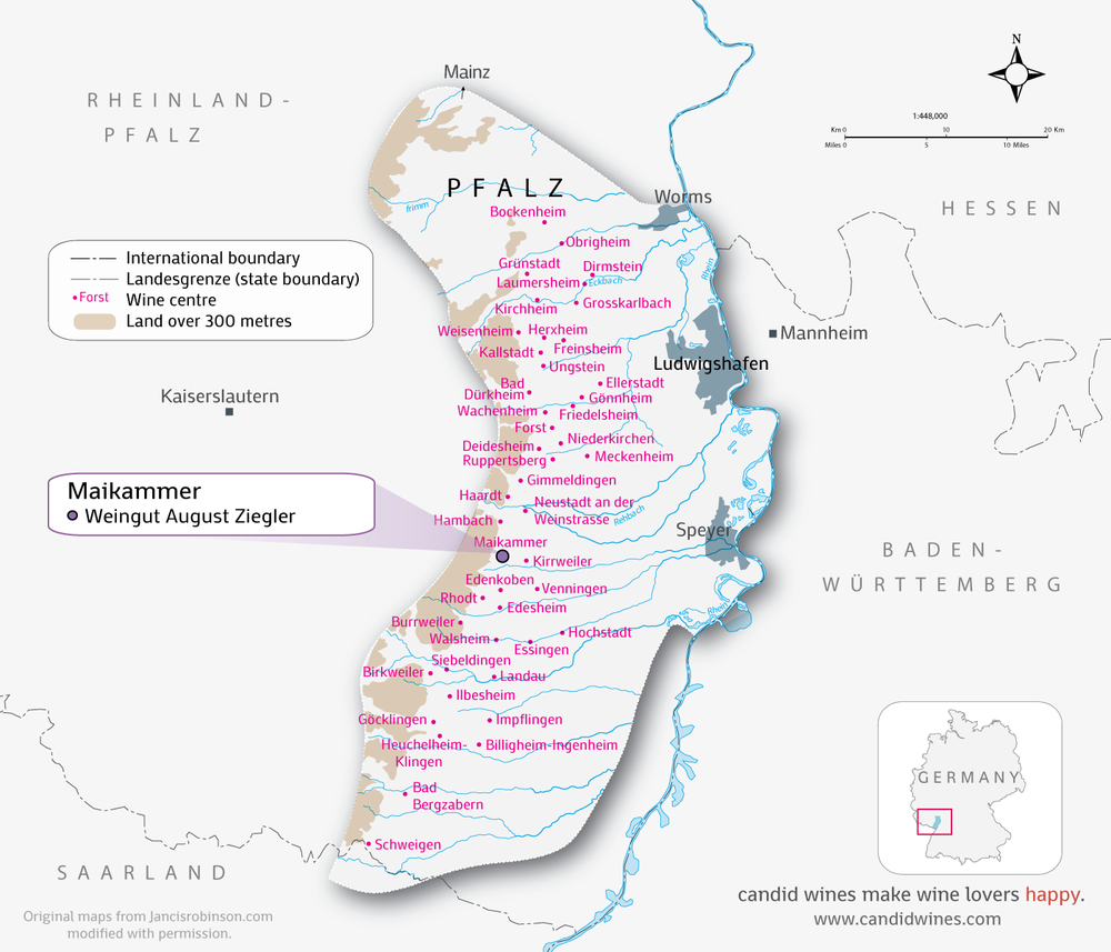 Overview of the Pfalz Wine Region.