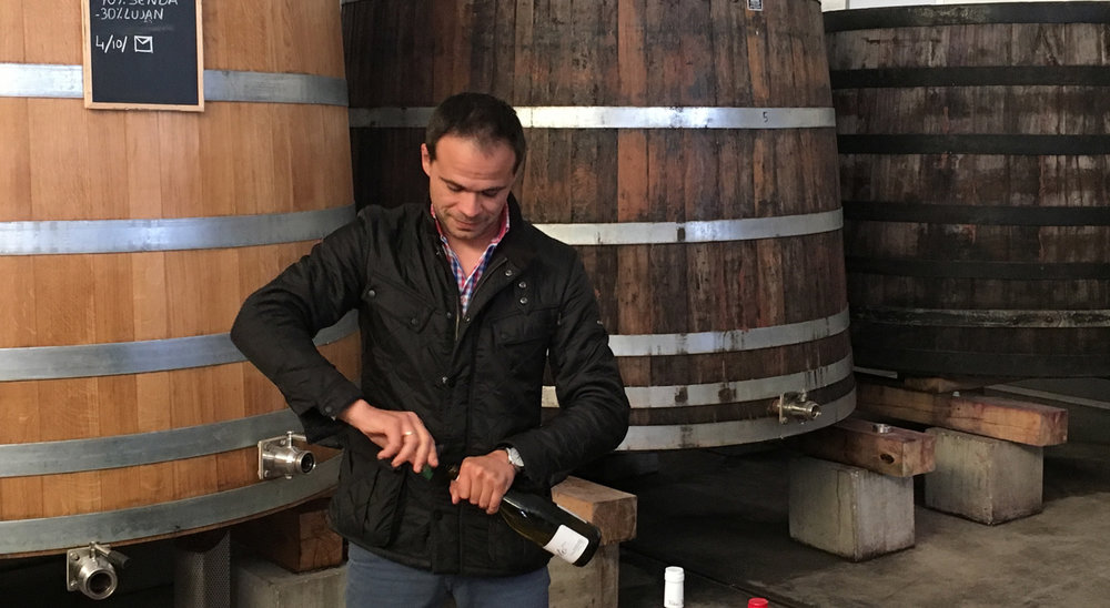 "Juan Antonio Ponce opening one of his stellar wines, the white ""Reto""."