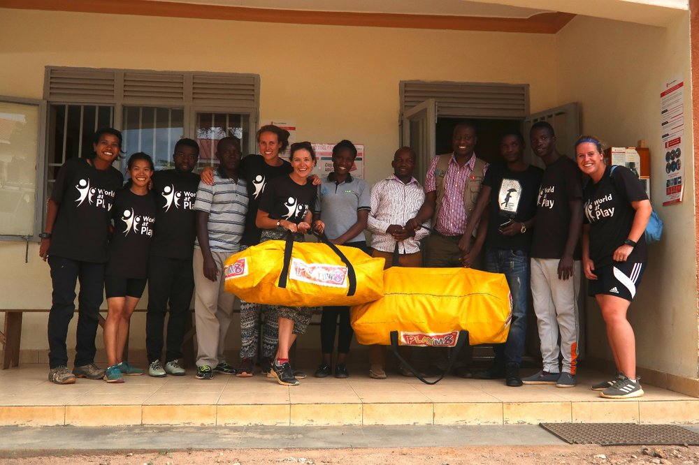 The team handing over equipment on the last day